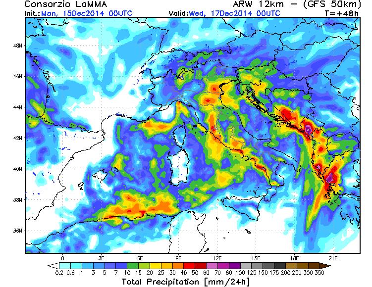 Previsioni meteo: ecco dove sono attesi i temporali nella giornata di Martedì 16 Dicembre 2014 - mappa a cura del LaMMA Toscana.