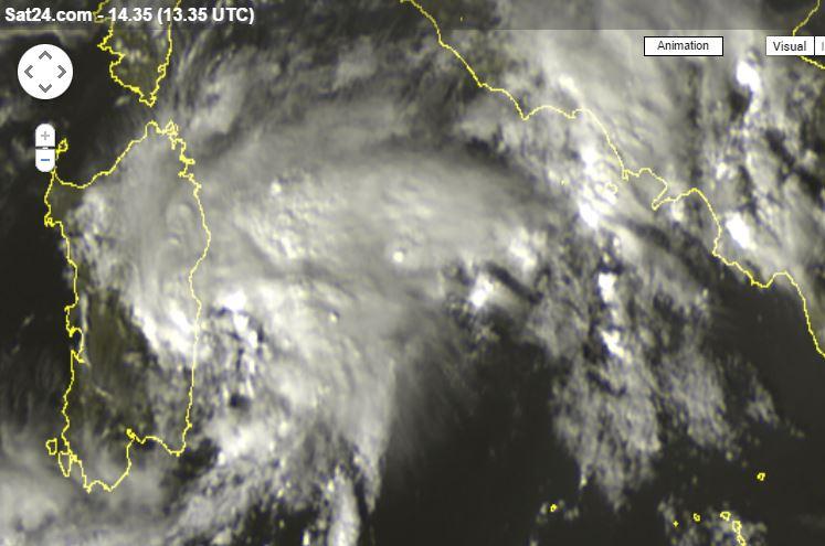 Scatto satellitare del vortice di bassa pressione - Sat24.com