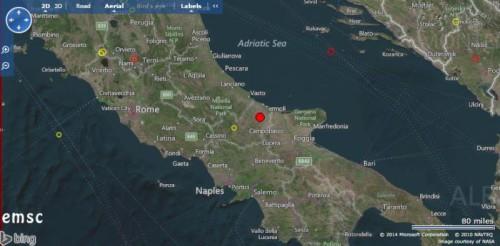 Terremoto Molise: segnalata intensa scossa di magnitudo 4.3 Richter