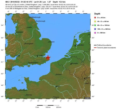 Terremoto di magnitudo 4.3 Richter a Londra, avvertita da milioni di persone - EMSC