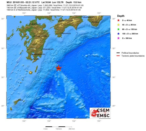 Terremoto Giappone oggi 5 Gennaio, magnitudo 5.8 Richter in mare, dati ufficiali