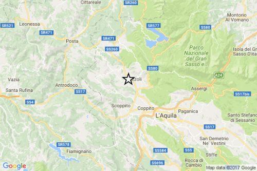 Forte scossa di terremoto nella zona de L'Aquila, paura nella notte
