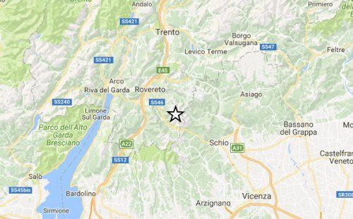 Potete scossa di terremoto fra Trentino e Veneto, magnitudo 3.6