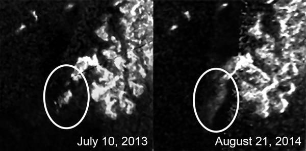 Isola che cambia forma su Titano - NASA