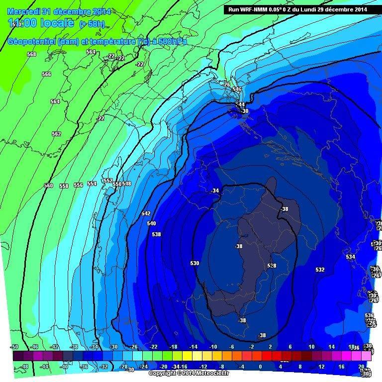 Temperature veramente gelide alla quota barica di 500 hPa - www.meteociel.fr