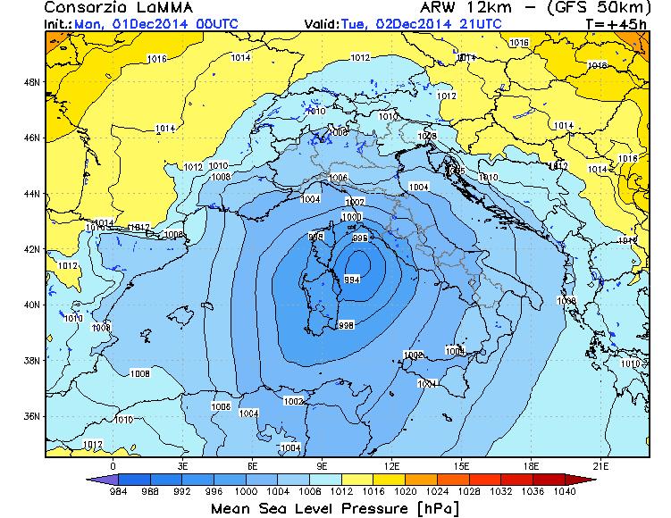 Ciclone mediterraneo in arrivo su Sardegna e Lazio? Vediamo di che si tratta - fonte LaMMA