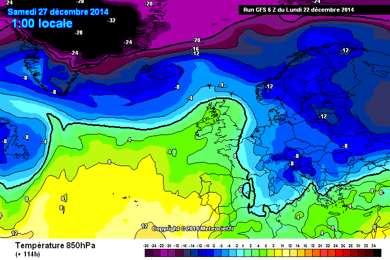 GFS tra 26 e 27 Dicembre resta molto buono per freddo significativo e locali nevicate a bassa quota - Meteociel.fr