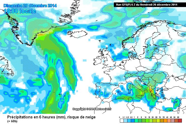 Precipitazioni nevose sul medio versante adriatico per la sera di Domenica 28, ipotesi anche per quello tirrenico? Temporali intensi al Sud - www.meteociel.fr