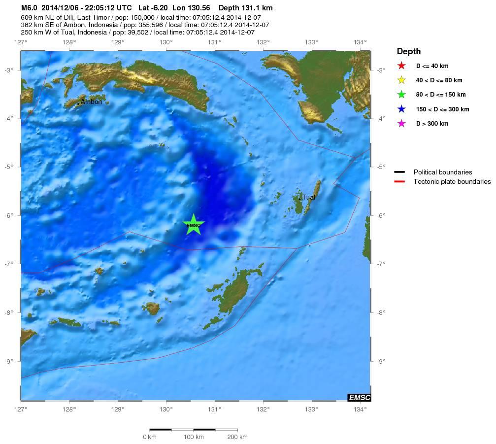 Dati del forte terremoto tra Indonesia e Timor Est - EMSC