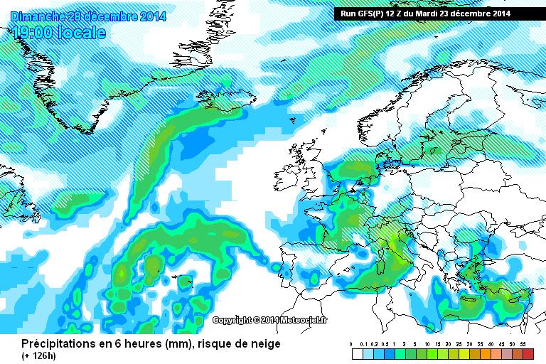 Mappa con precipitazioni probabili per la sera del 28 Dicembre - www.meteociel.fr