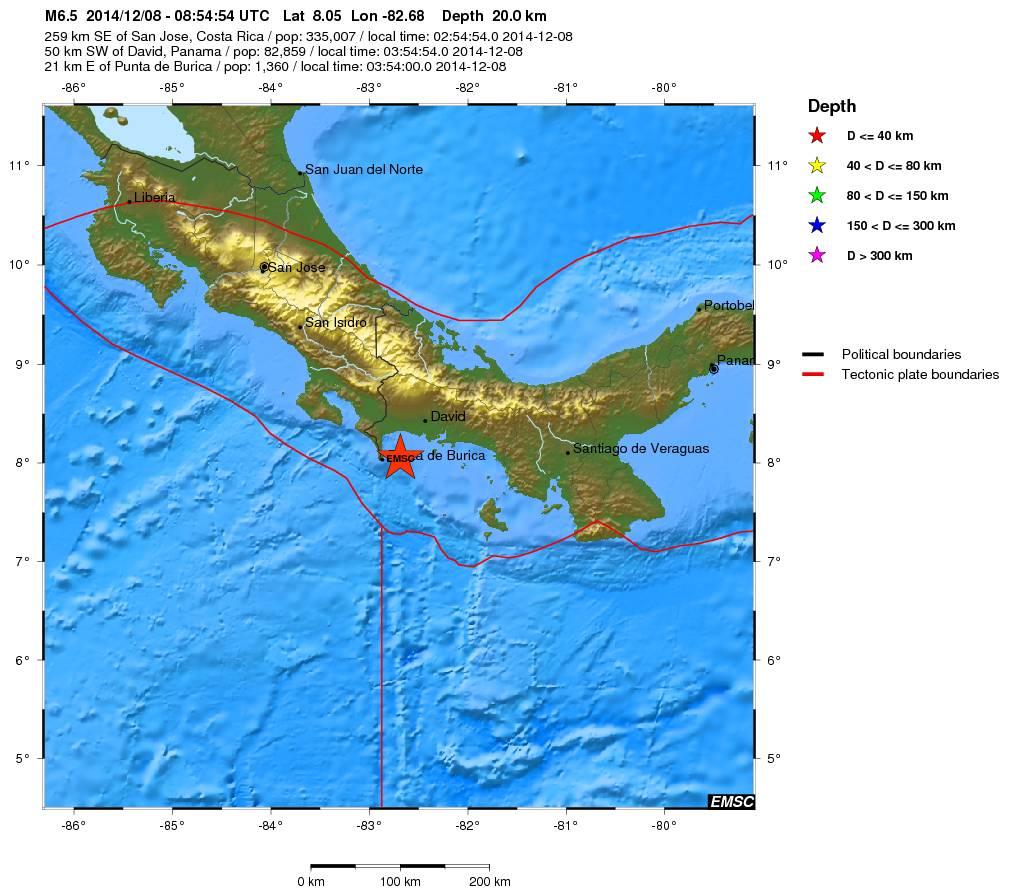 Terremoto a Panama alle 09:54 di oggi, mappa EMSC