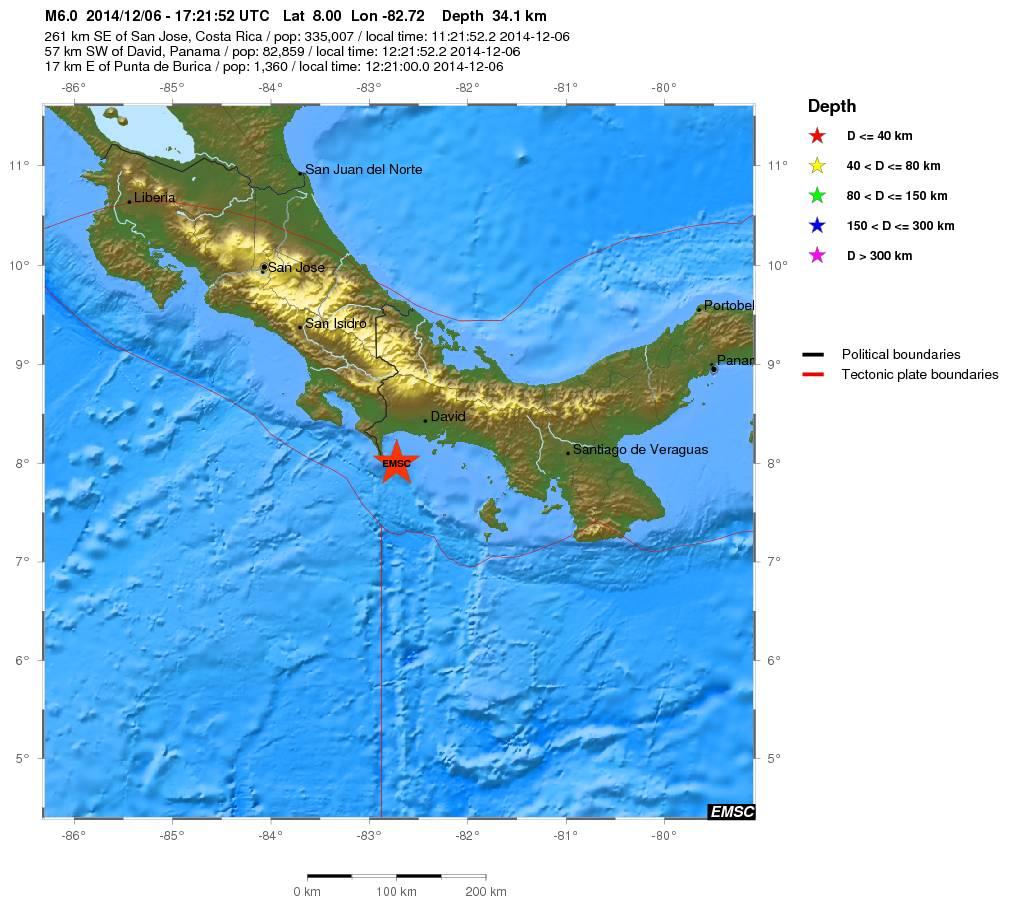 Terremoto a Panama, dati epicentro ed ipocentro - EMSC