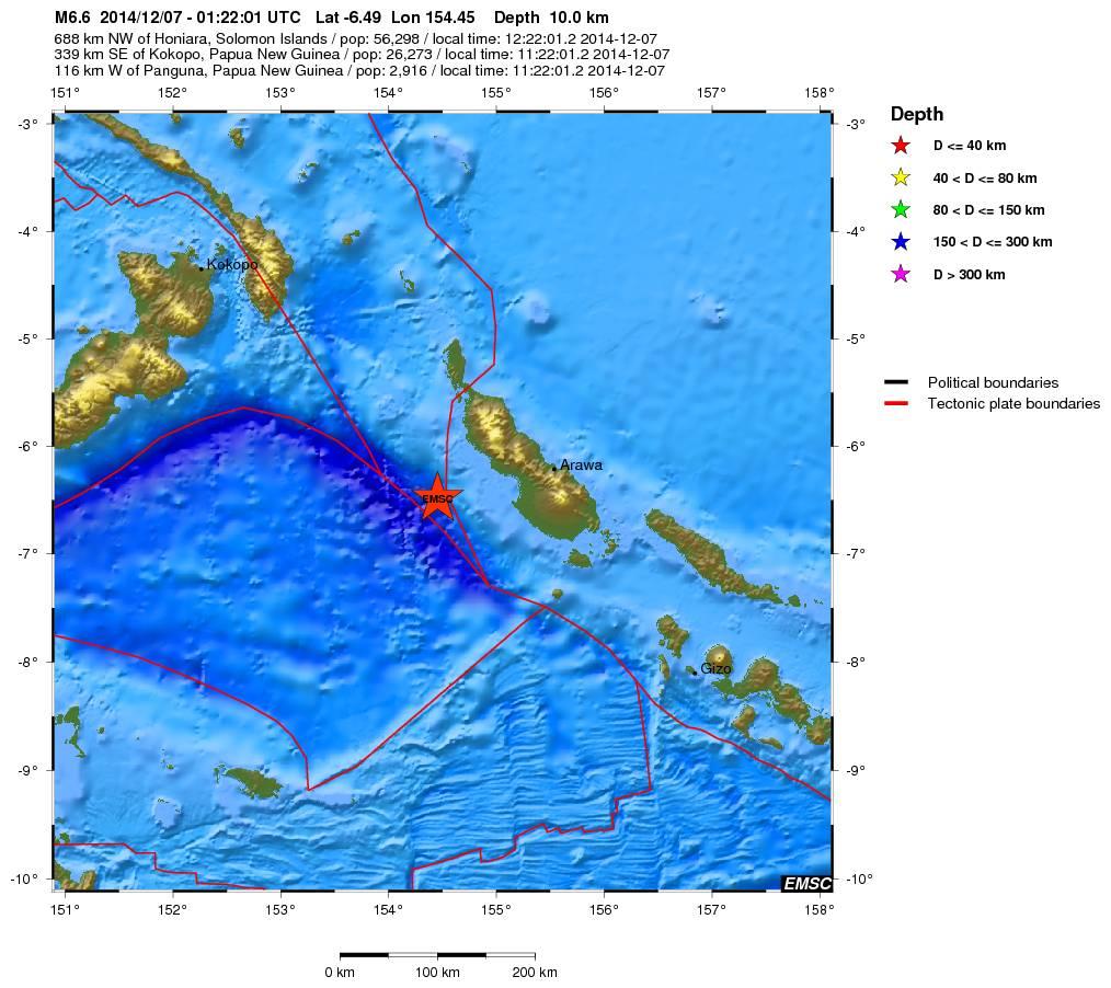 Terremoto tra Papua-Nuova Guinea ed Isole Salomone - dati EMSC