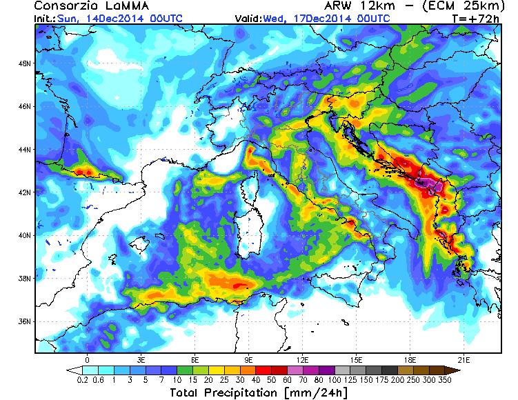 Precipitazioni attese per Martedì 26 Dicembre, possibili locali nubifragi - Mappa LaMMA Toscana