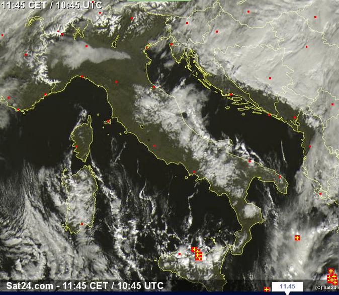 Tempo in atto sull'Italia - 08 Dicembre 2014, sat24.com