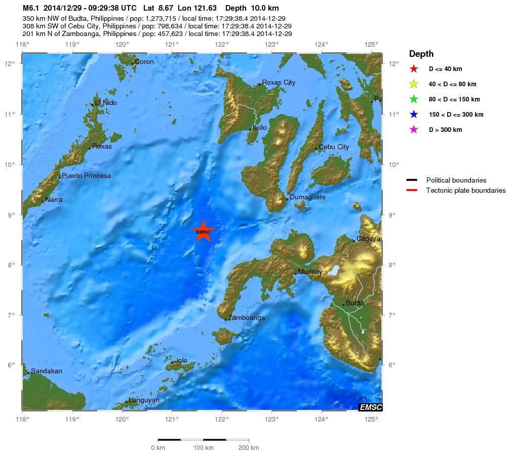 Terremoto a largo delle Filippine - mappa EMSC