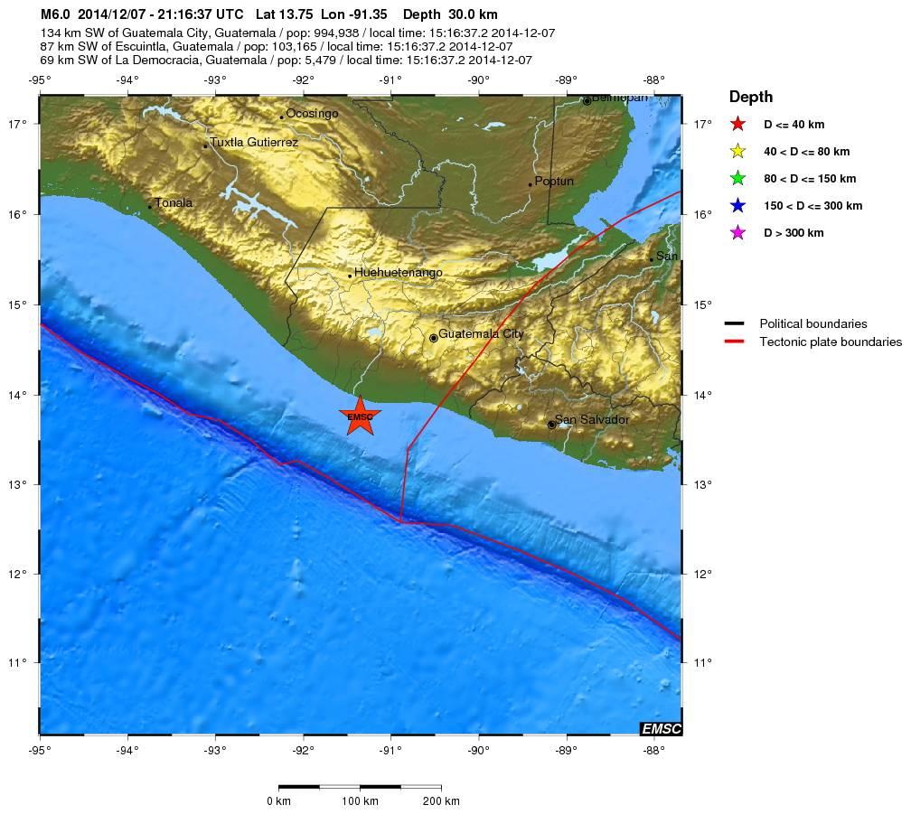 Terremoto in Guatemala - dati e mappa EMSC