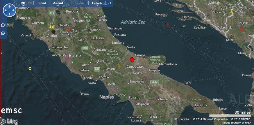 Scossa di terremoto al Centro-Italia - EMSC