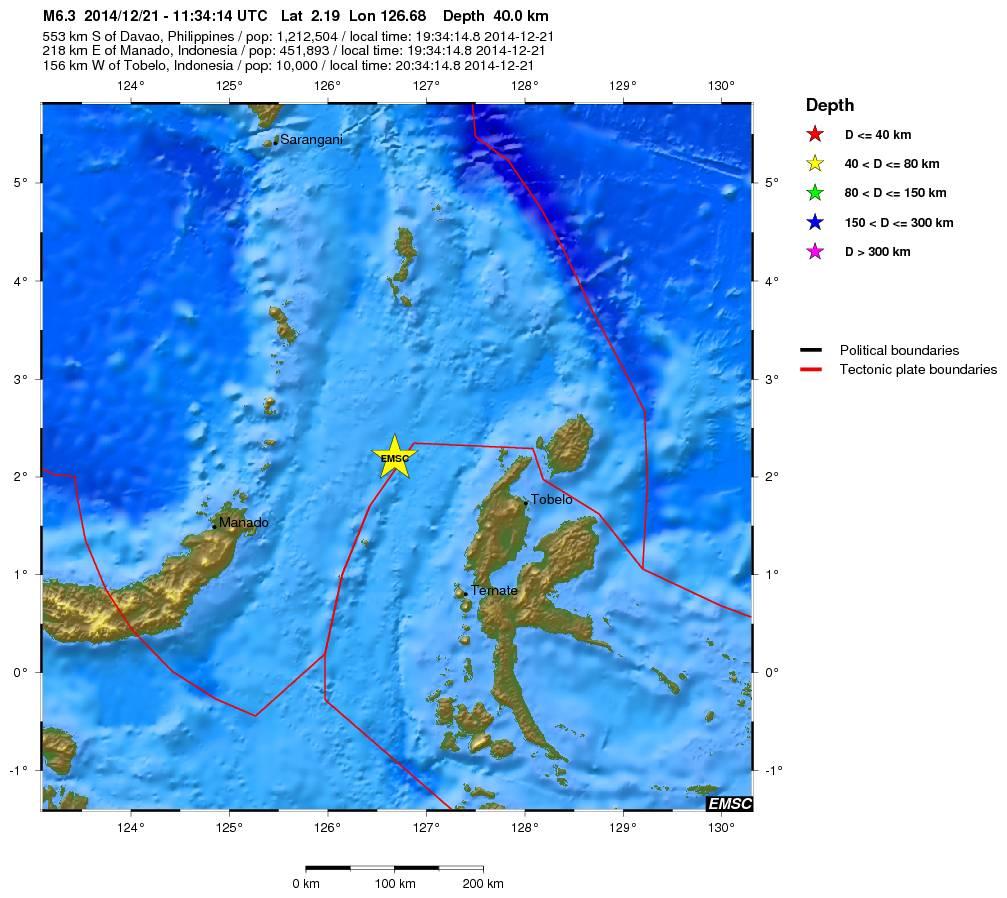 Terremoto tra Indonesia ed Isole Mollucche - fonte EMSC