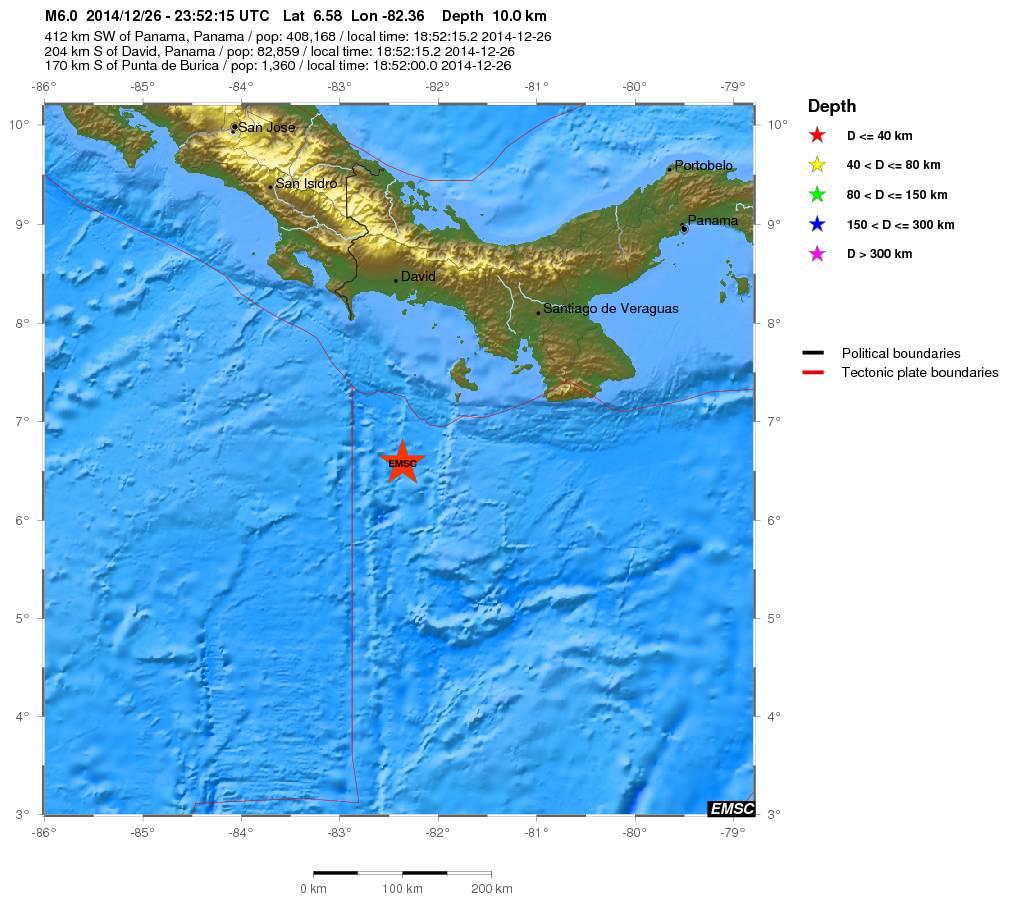 Terremoto a Sud di Panama - mappa EMSC