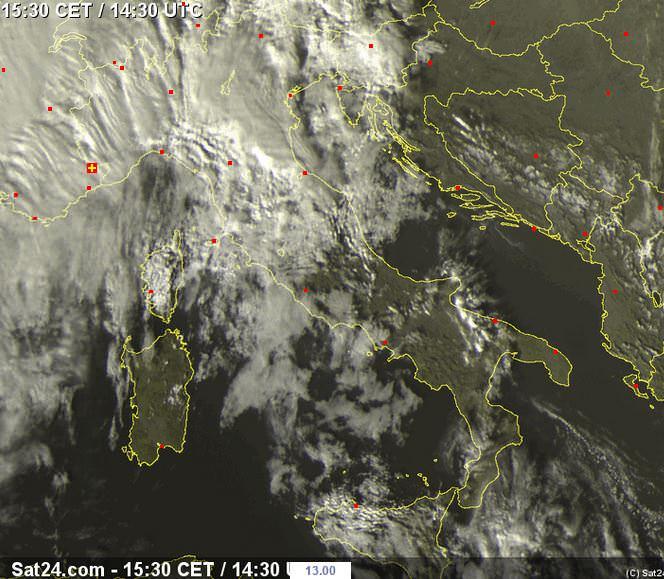 Temporali e piogge al Nord Italia - sat24.com