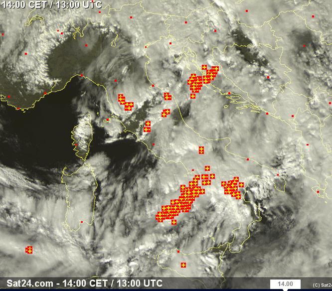 Fronte temporalesco in arrivo su Toscana e Lazio - sat24.com