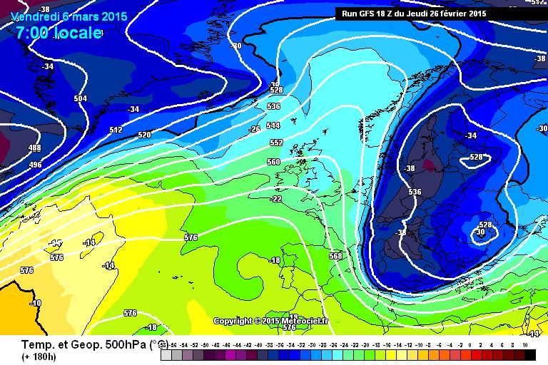 Il freddo visto alla quota di 500 hPa da GFS 18Z - www.meteociel.fr
