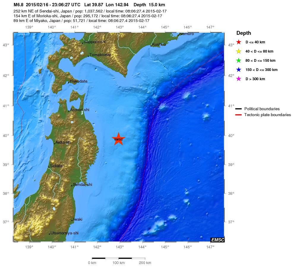 Terremoto Giappone, forte scossa di magnitudo 6.8 della scala Richter, epicentro davanti Fukushima - EMSC