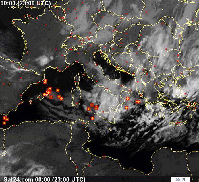 Irruzione di aria fredda proveniente da Est - www.sat24.com