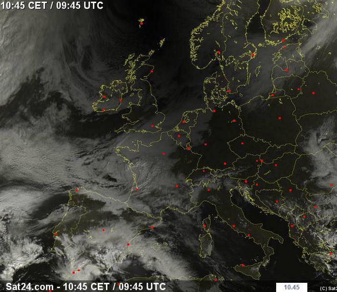 Cono d'ombra dell'eclissi sull'Europa - sat24.com