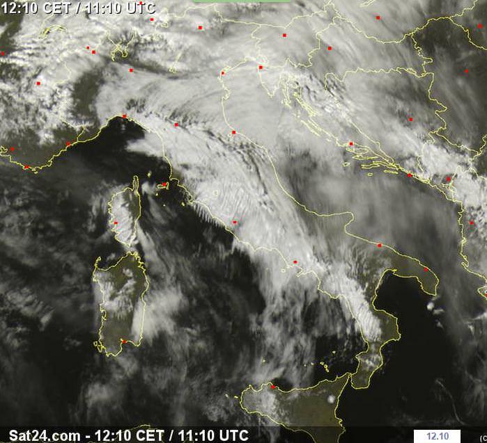 Perturbazione numero uno del mese di Marzo: maltempo piuttosto blando oggi, ad eccezione della Toscana - sat24.com