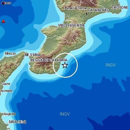 Sequenza di terremoti registrati sulla costa Sud della Calabria - INGV