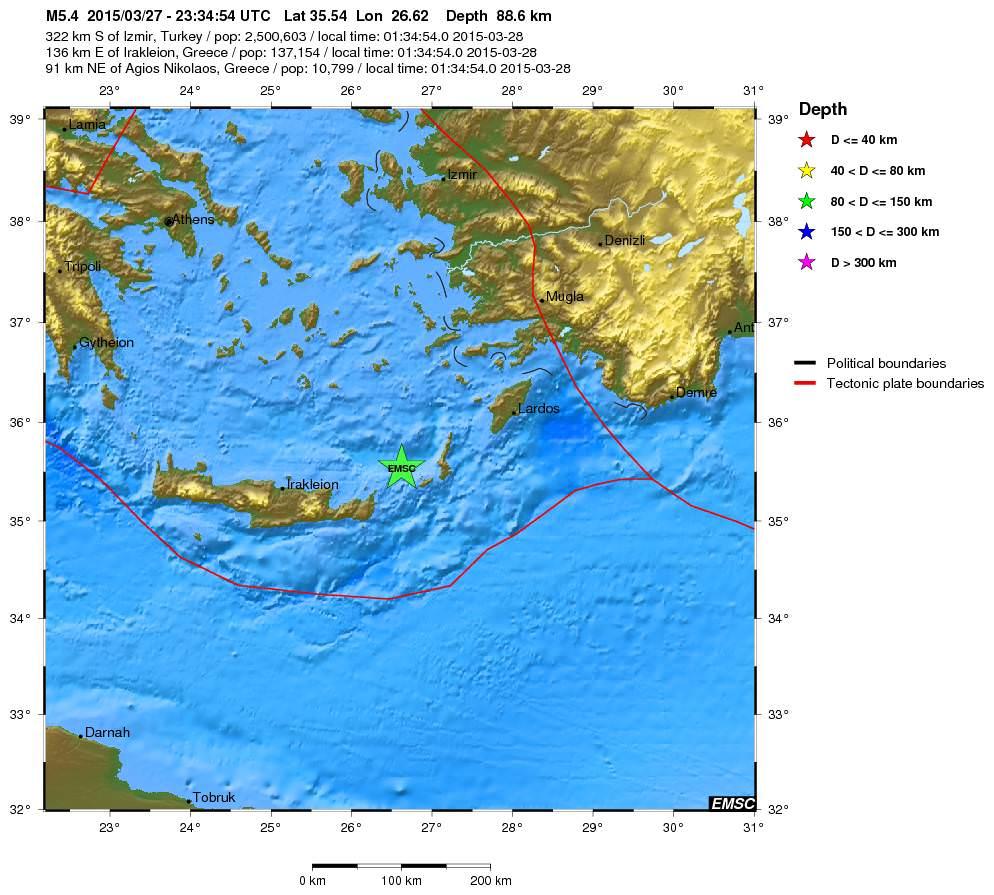 Terremoto Creta e Rodi: forte scossa di magnitudo 5.4 della scala Richter, gente in strada - EMSC