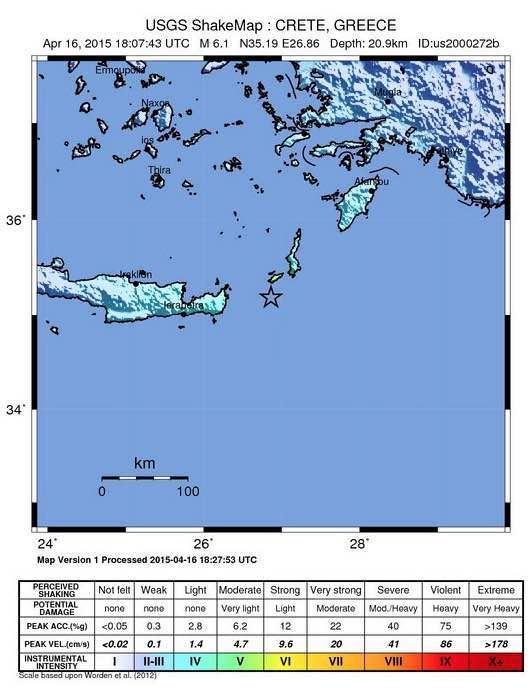 Terremoto oggi Creta: forte scossa di magnitudo 6.4 della scala Richter - mappa USGS