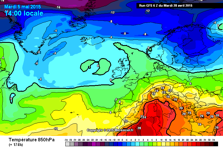 Ondata di caldo intenso in arrivo all'inizio di Maggio? - www.meteociel.fr