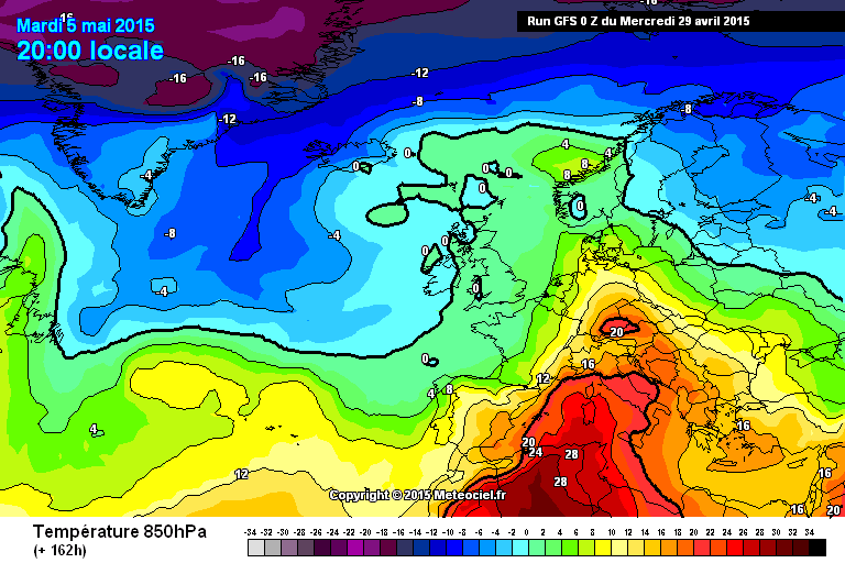 Ondata di caldo a inizio Maggio, i modelli matematici confermano - www.meteociel.fr