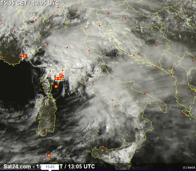 Temporali sull'arcipelago toscano - www.sat24.com
