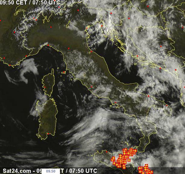Tempo in atto oggi: temporali di debole intensità sulla Sicilia - www.sat24.com