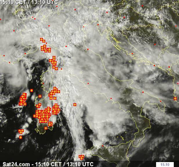 Forti temporali al Centro-Nord e sulla Sardegna - www.sat24.com