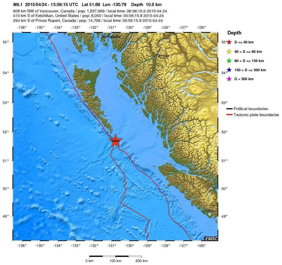 Doppia forte scossa di terremoto nel mondo: M 6.0 Nuova Zelanda, M 6.1 Canada occidentale - dati EMSC relativi all'evento sismico del Canada