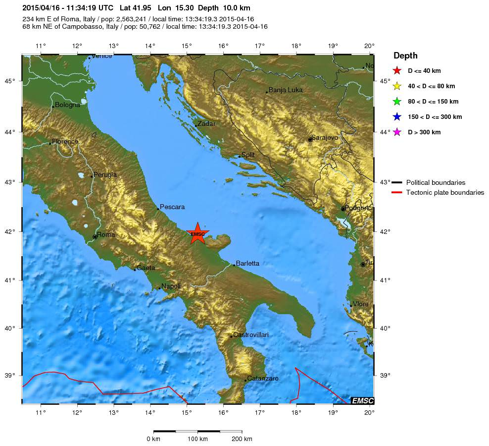 Terremoto oggi Puglia e Molise: registrata scossa di 4.1 della scala Richter - mappa e dati EMSC