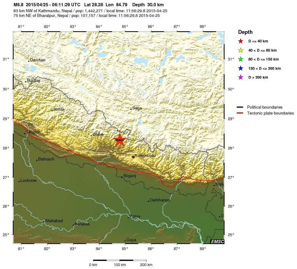 Terremoto Nepal, India e Cina: violenta scossa di magnitudo 7.4 Richter, si temono danni enormi - EMSC