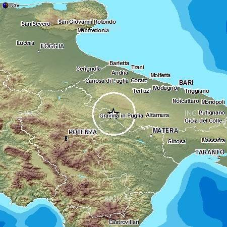 Terremoto appena avvertito tra Puglia e Basilicata: magnitudo 3.2 Richter - INGV