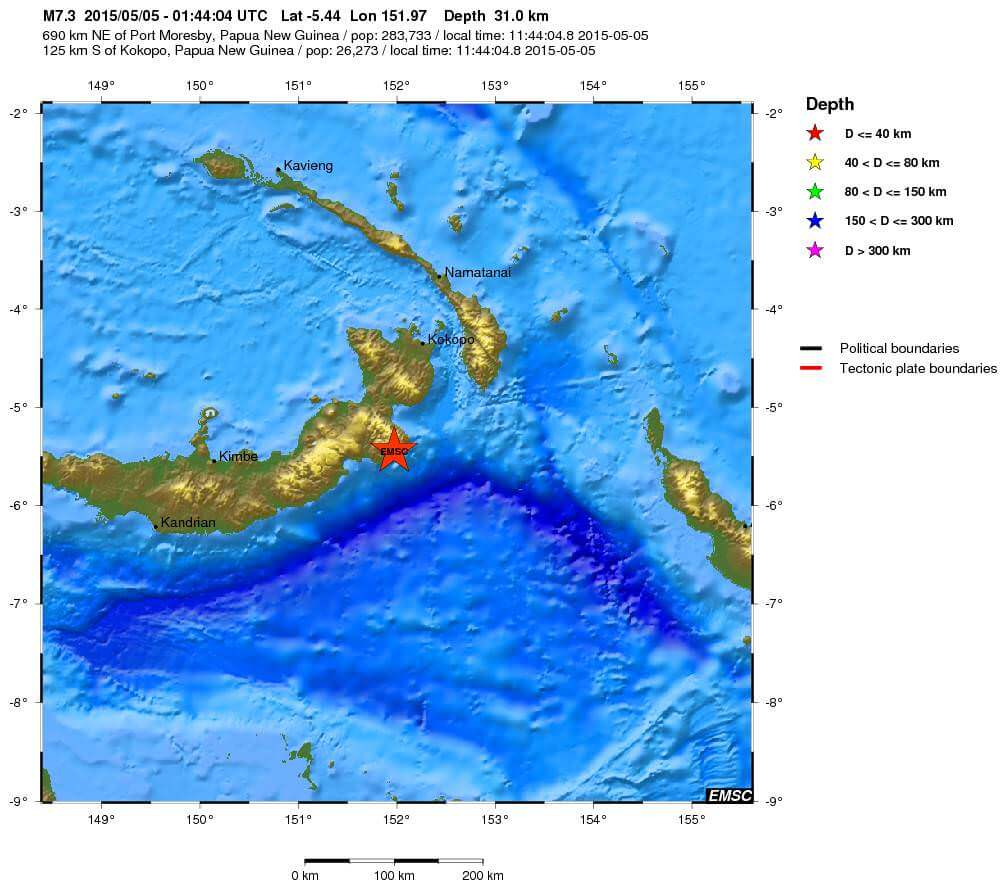 Violento terremoto di magnitudo 7.5 Richter a largo di Papua-Nuova Guinea, emesso allarme tsunami - dati EMSC
