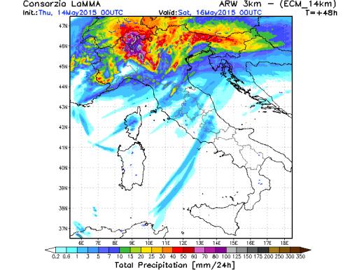 Maltempo al Nord Italia: violenti temporali in arrivo nelle prossime 36 ore - LaMMA