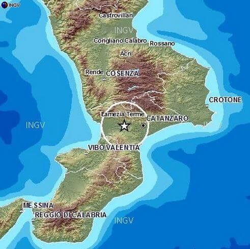Terremoto in Calabria: scossa di magnitudo 3.1 Richter tra Lamezia Terme e Catanzaro - INGV