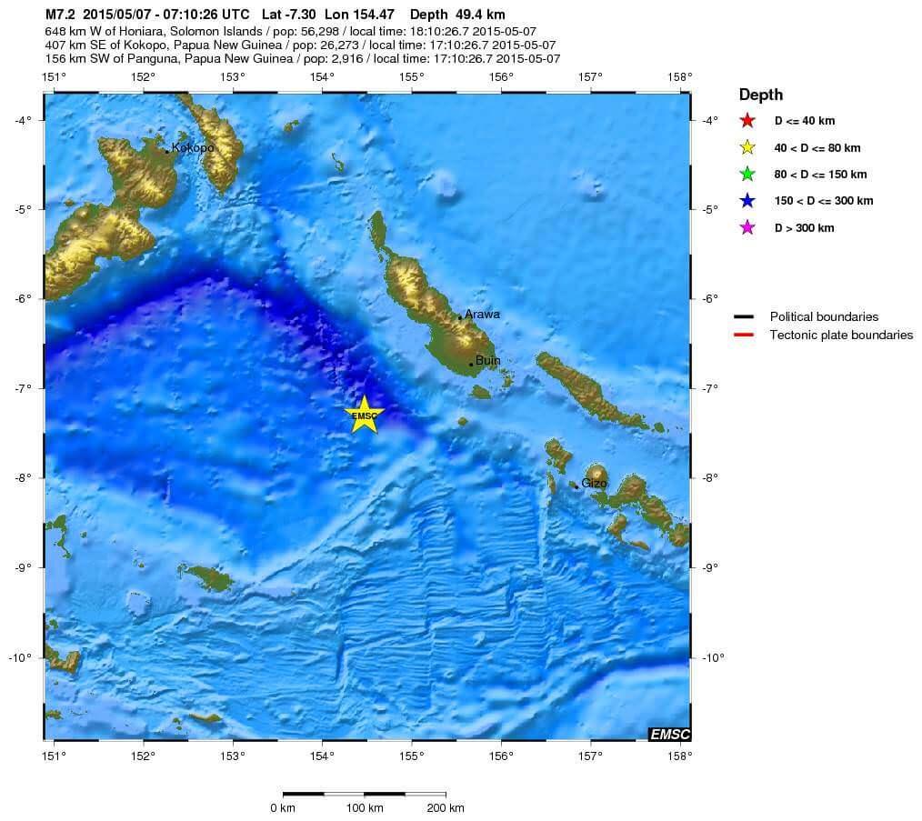 Forte terremoto tra Papua-Nuova Guinea ed Isole Salomone, magnitudo 7.2 Richter - EMSC