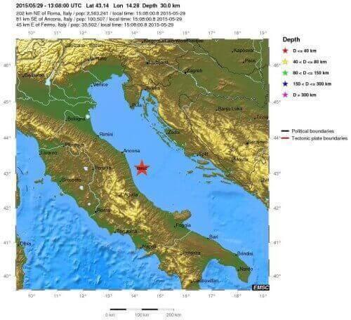Terremoto Marche e Abruzzo 29 Maggio: scossa di magnitudo 4.3 Richter - EMSC