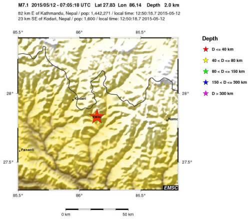 Terremoto Nepal 12 Maggio - epicentro a cura EMSC