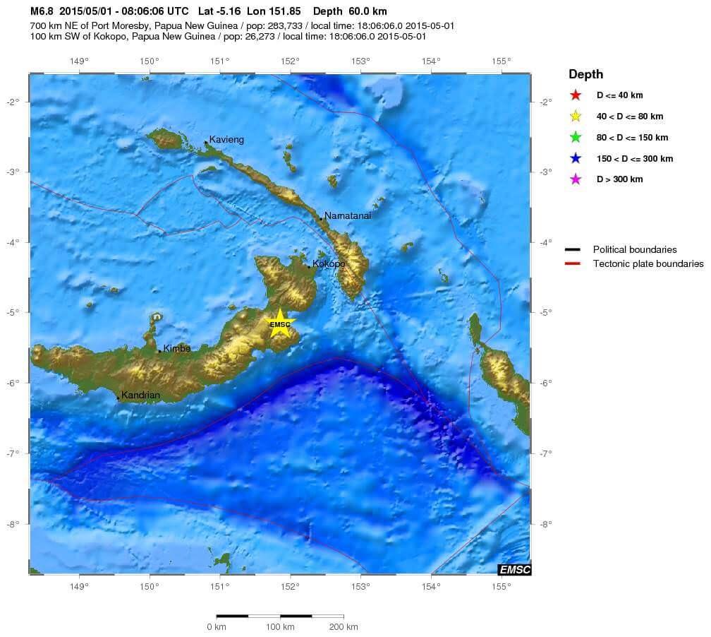 Doppia forte scossa di terremoto in Papua-Nuova Guinea, l'ultima di magnitudo 6.7 Richter - EMSC